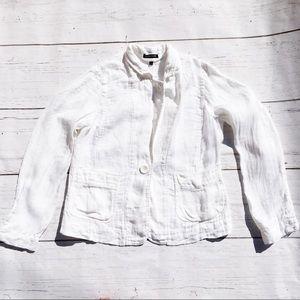 Eileen Fisher white linen blazer jacket